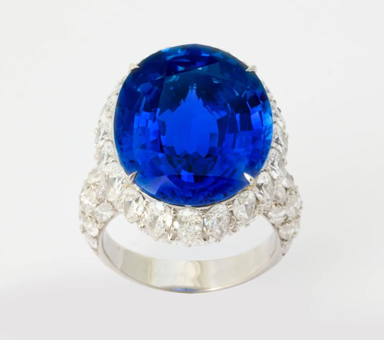 This exquisite ring features one of the finest Ceylon sapphires that you will ever see.  The stone weighs 20.13 carats and is certified by both the GRS and the AIGS to be of Ceylon (Sri Lanka) origin and without heat treatment.  The cut is a