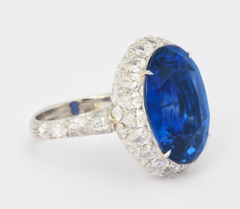 Natural No Heat Ceylon 20 Carat Sapphire Diamond Ring For Sale 2