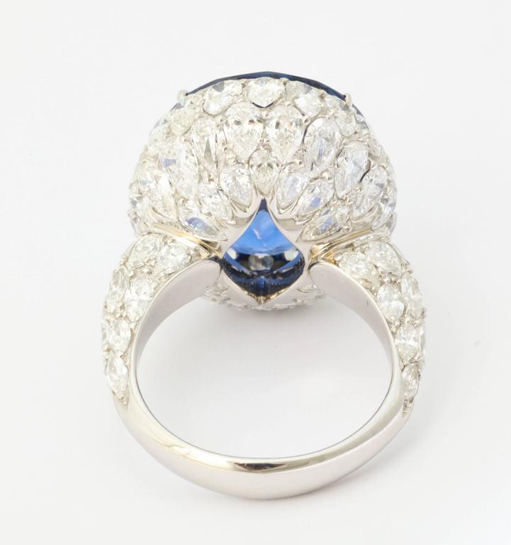 Natural No Heat Ceylon 20 Carat Sapphire Diamond Ring For Sale 1