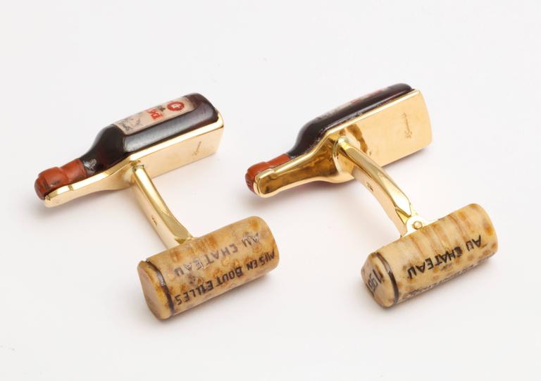 Michael Kanners Carved Stone Red Wine Cufflinks In New Condition For Sale In Bal Harbour, FL