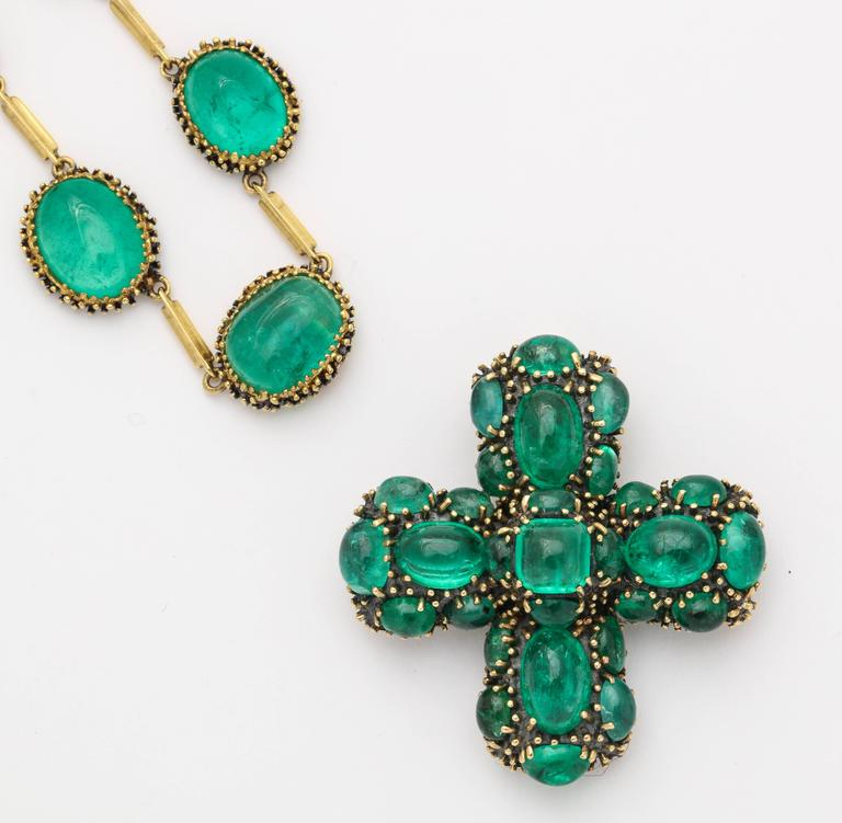 Marilyn Cooperman Cabochon Emerald Cross Pendant and Necklace 5