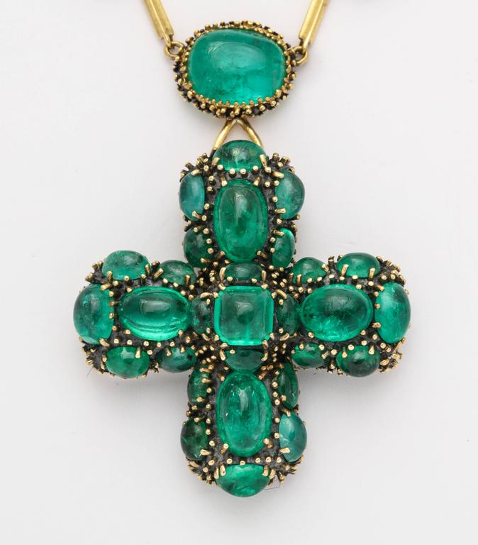 Marilyn Cooperman Cabochon Emerald Cross Pendant and Necklace 3