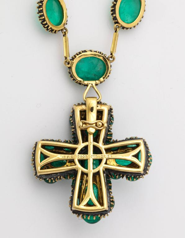 Marilyn Cooperman Cabochon Emerald Cross Pendant and Necklace 8