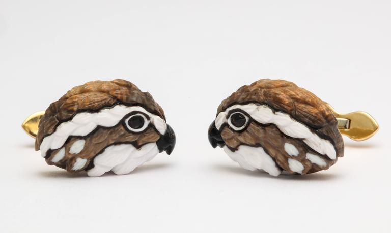 Michael Kanners One of a Kind Quail Cufflinks In New Condition For Sale In Bal Harbour, FL