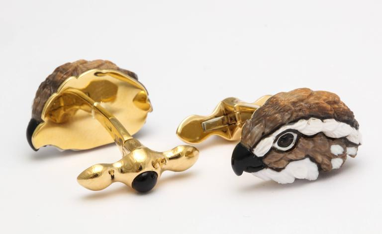 Michael Kanners One of a Kind Quail Cufflinks For Sale 2
