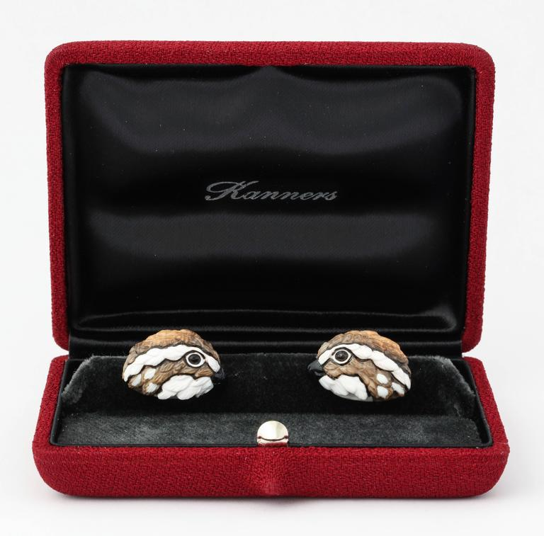 Women's or Men's Michael Kanners One of a Kind Quail Cufflinks For Sale