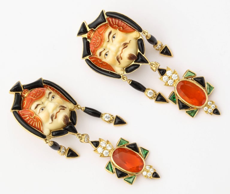 Marilyn Cooperman Japanese God of Fortune Earrings In Excellent Condition For Sale In Bal Harbour, FL