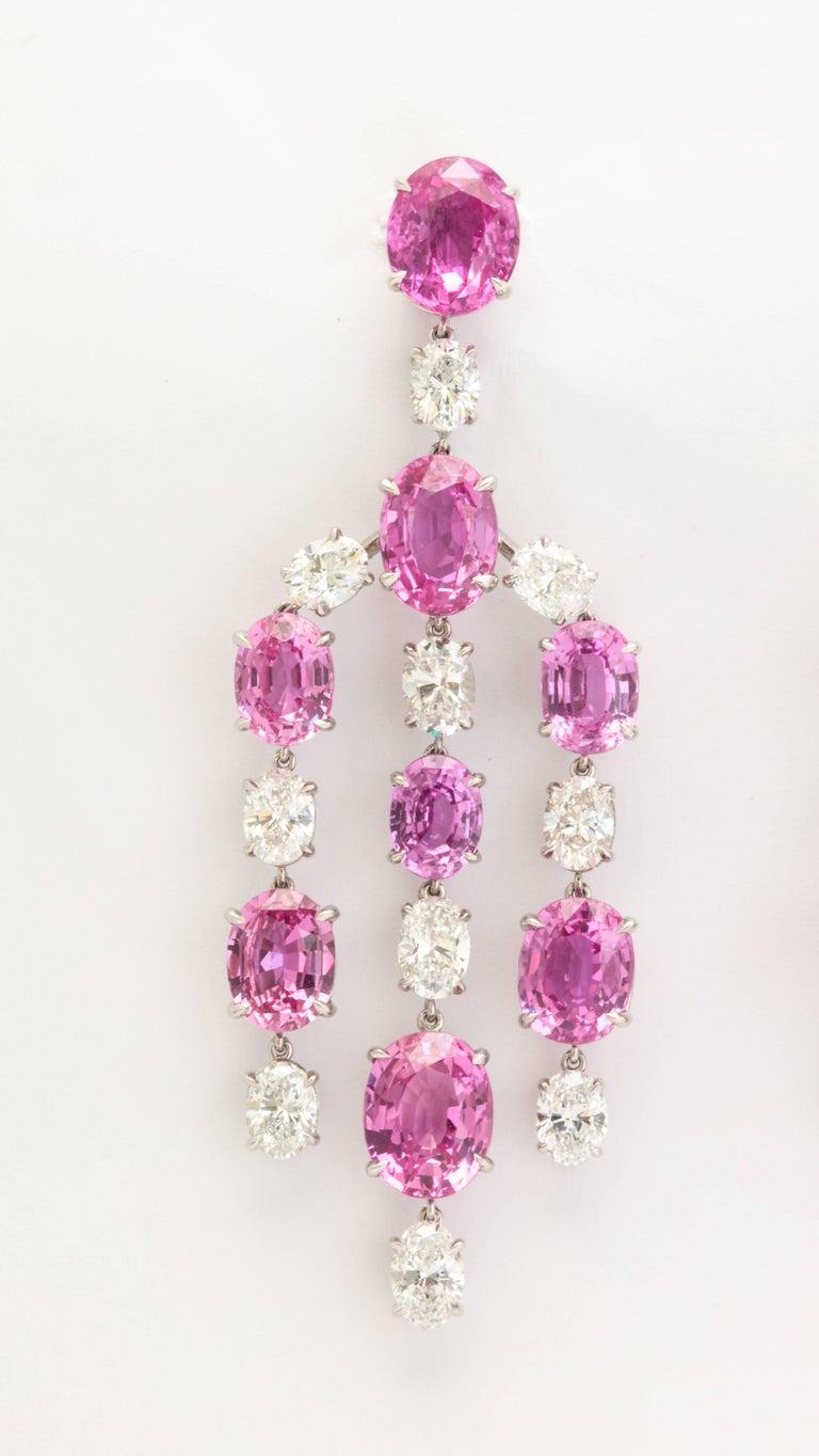 Elegant platinum pink sapphire and diamond chandelier earrings for elegant platinum pink sapphire and diamond chandelier earrings 2 arubaitofo Image collections