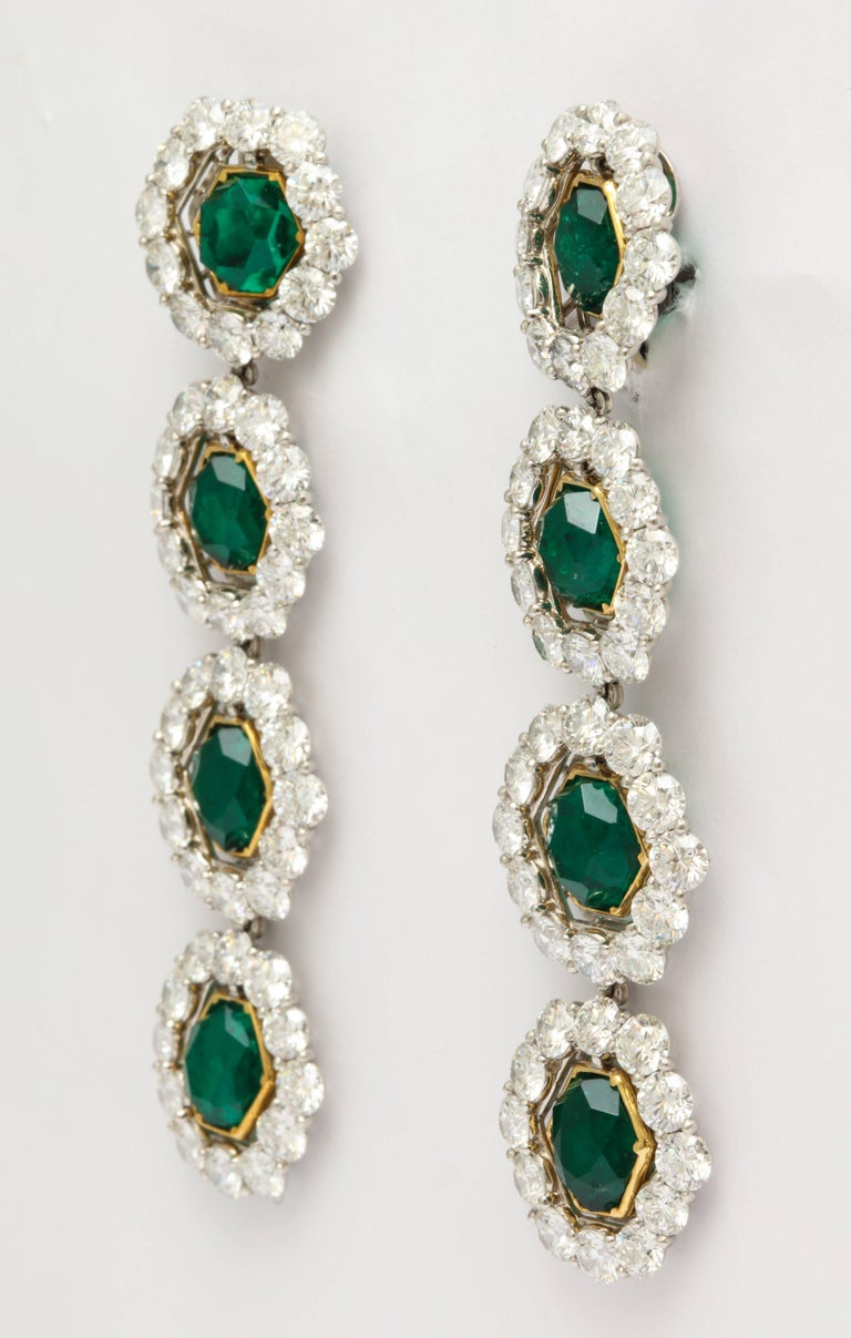 Round Cut Colombian Emerald and Diamond Long Hanging Earrings For Sale