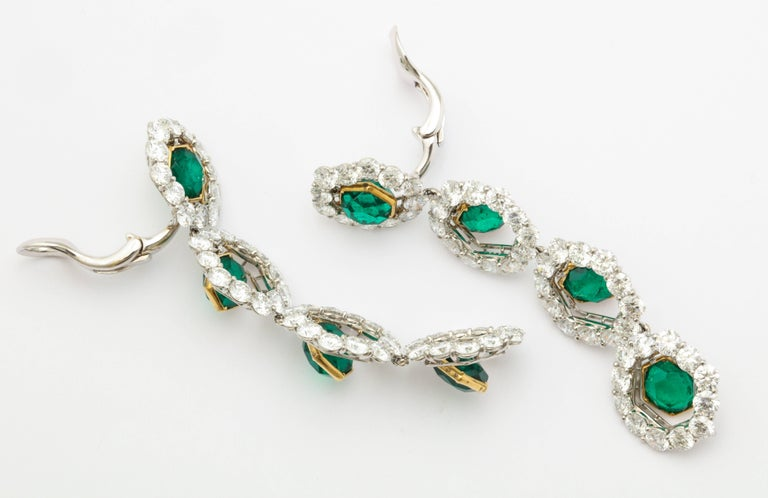 Women's Colombian Emerald and Diamond Long Hanging Earrings For Sale