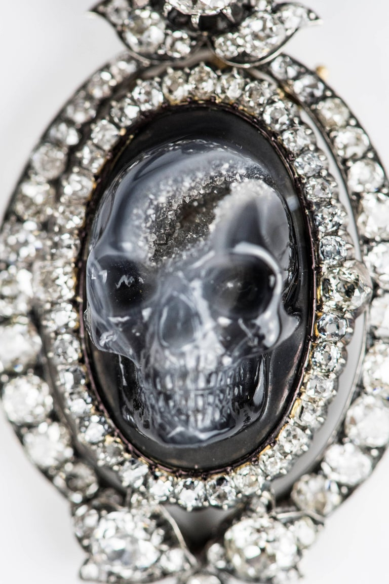 Antique Diamond Carved Drusy Agate Geode Skull Pendant Necklace For Sale 1