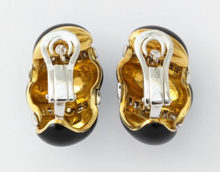 Women's Italian Black Enamel Diamond Gold Earrings For Sale