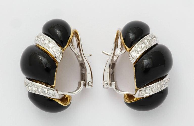 Italian Black Enamel Diamond Gold Earrings In New Condition For Sale In Bal Harbour, FL