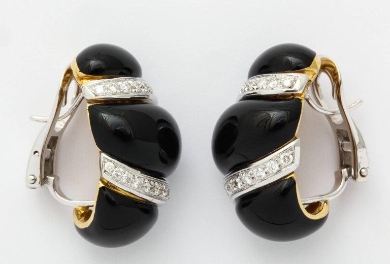 Round Cut Italian Black Enamel Diamond Gold Earrings For Sale