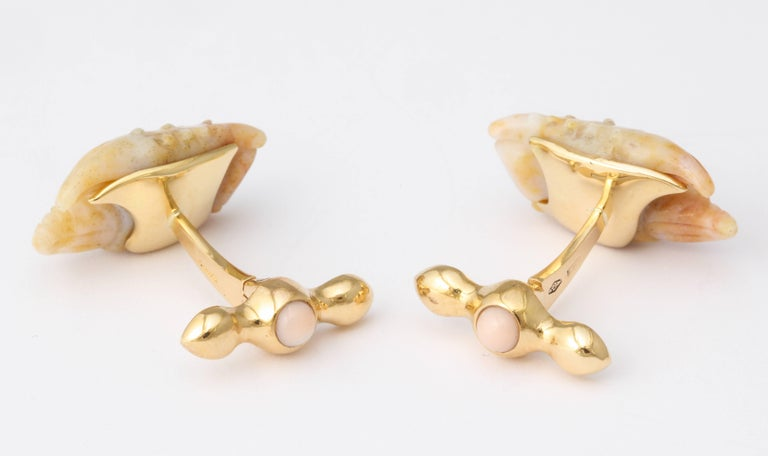Michael Kanners Stone Crab Claw Cufflinks For Sale 3