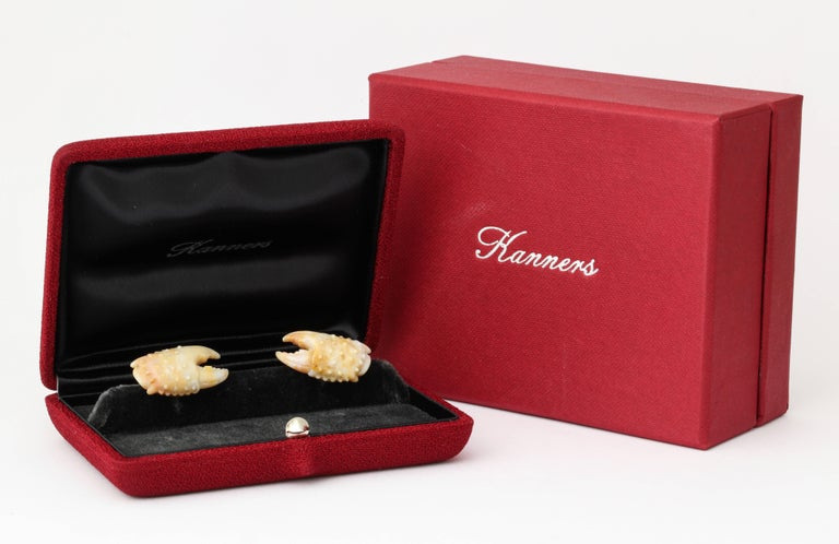 Michael Kanners Stone Crab Claw Cufflinks For Sale 4