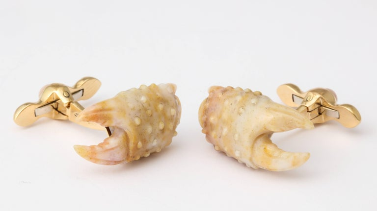 Women's or Men's Michael Kanners Stone Crab Claw Cufflinks For Sale