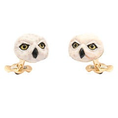 Michael Kanners Incredible Wood Onyx Quartz Owl Cufflinks