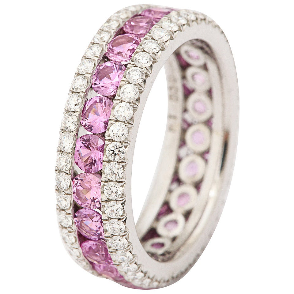 Pink Sapphire And Diamond Eternity Rings