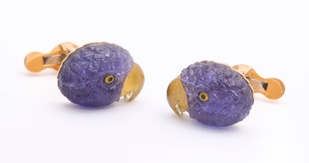 Women's or Men's Michael Kanners Tanzanite Gold Parrot Cufflinks For Sale