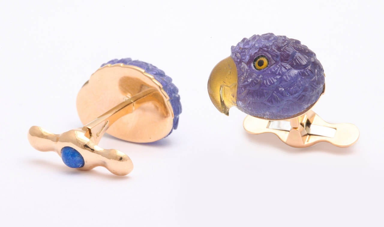 Michael Kanners Tanzanite Gold Parrot Cufflinks For Sale 1