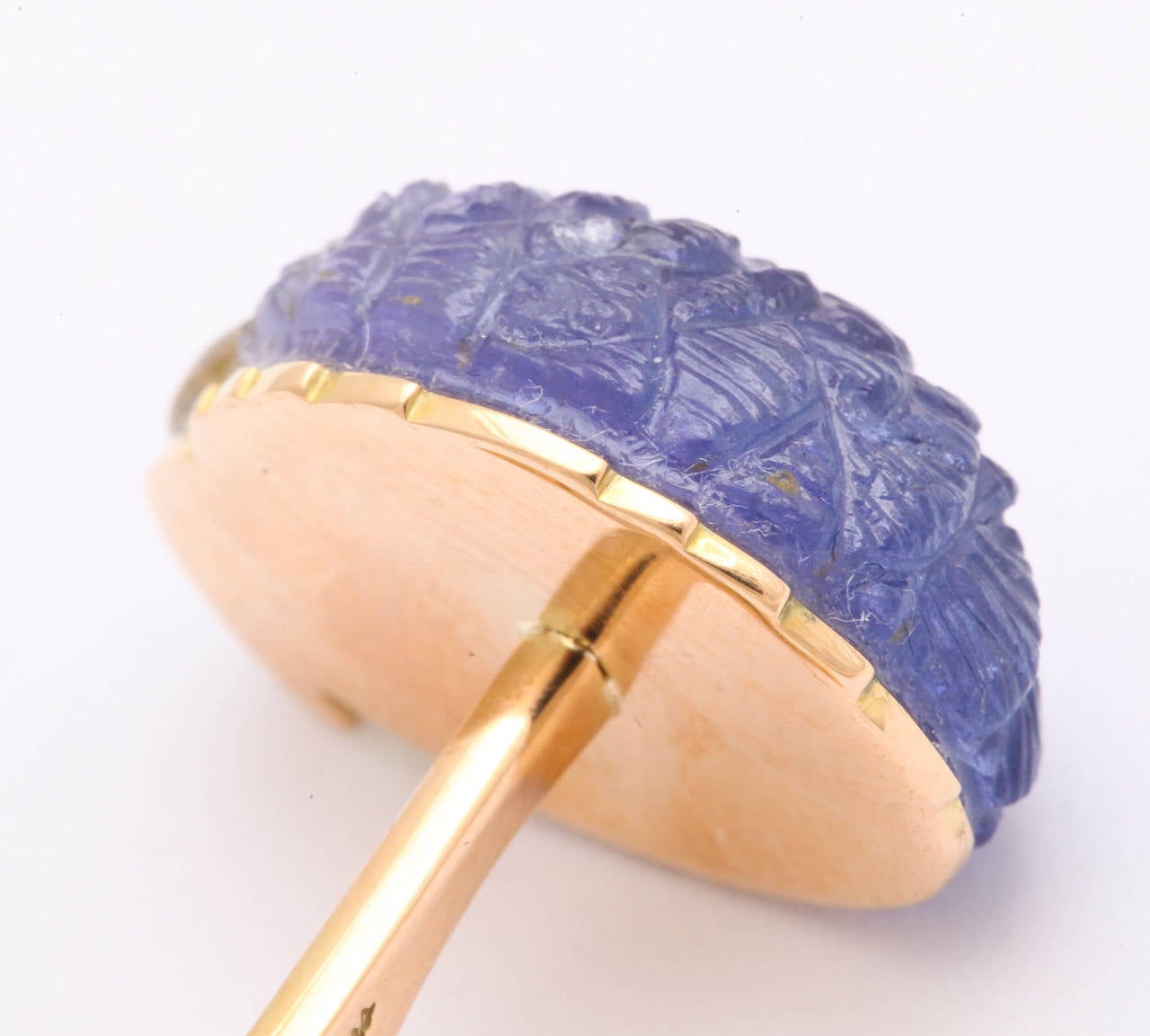 Michael Kanners Tanzanite Gold Parrot Cufflinks For Sale 4