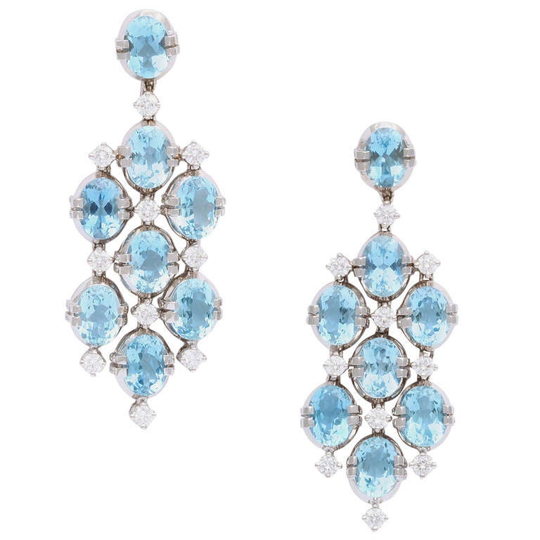 Tanagro Aquamarine and Diamond Chandelier Earclips