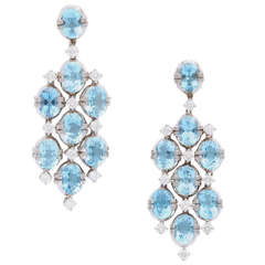 Tanagro Aquamarine and Diamond Chandelier Earclips