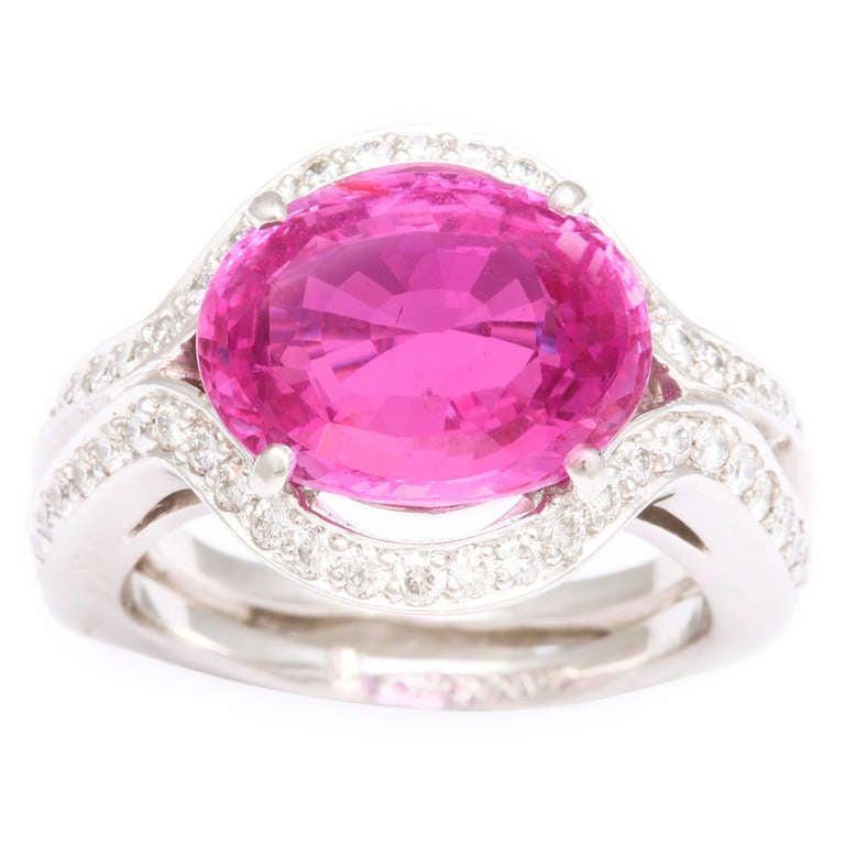 Tanagro Pink Sapphire and Diamond Ring