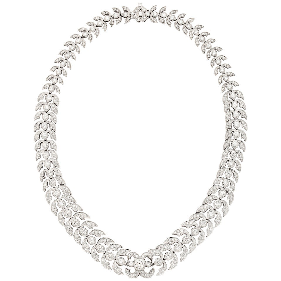 Diamond Platinum Foliate Design Necklace For Sale