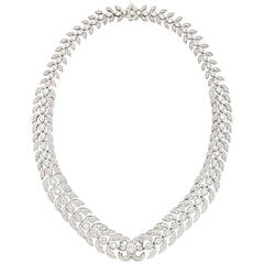 Diamond Platinum Foliate Design Necklace