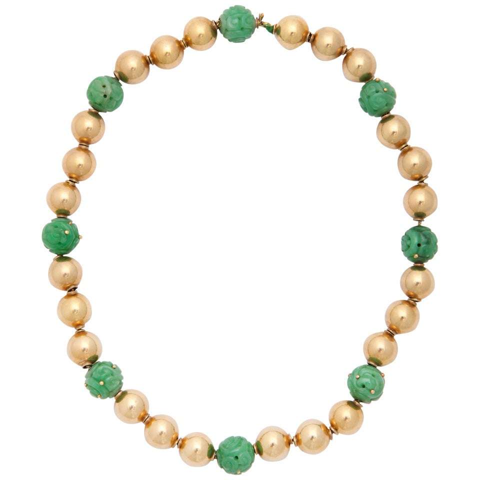 Carved jade and gold necklace for sale at 1stdibs for Triple j fine jewelry