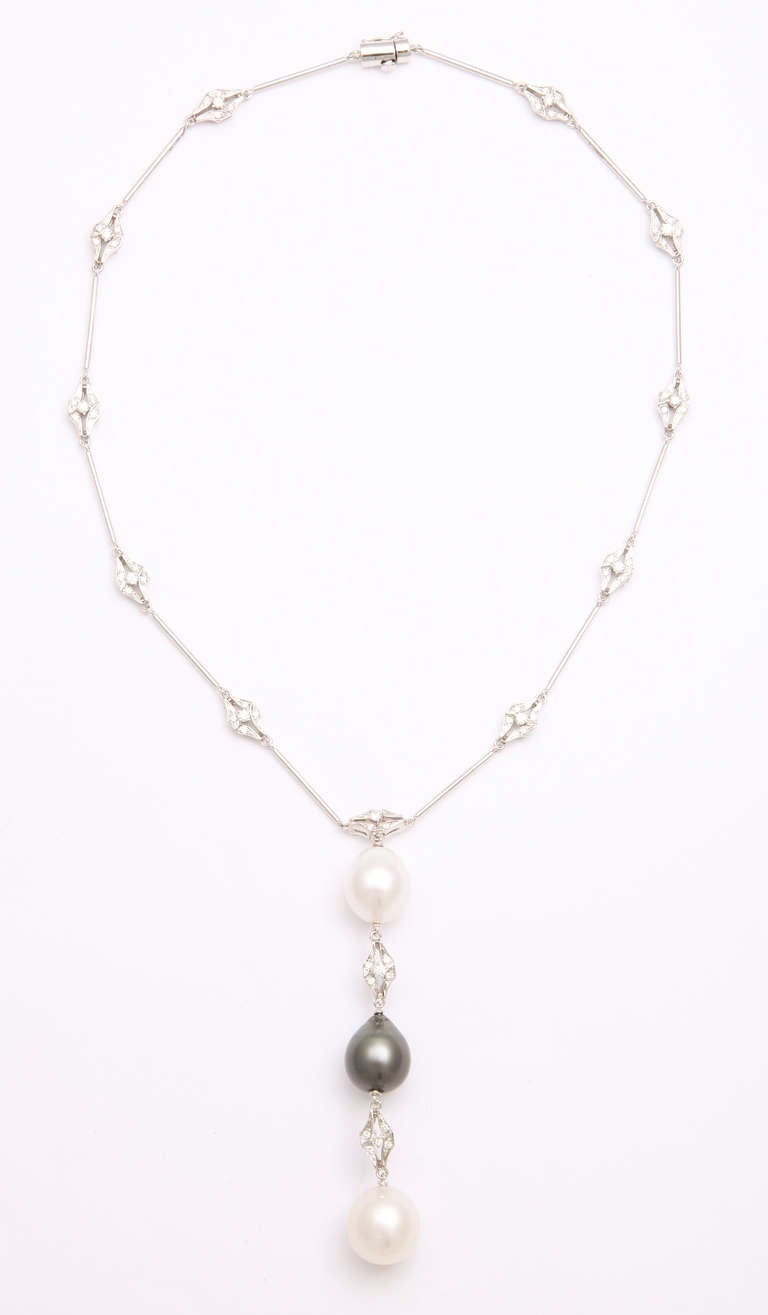 Contemporary Black and White Pearl and Diamond Long Necklace For Sale