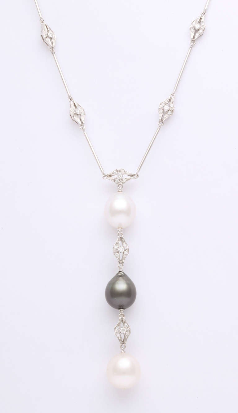 Women's Black and White Pearl and Diamond Long Necklace For Sale
