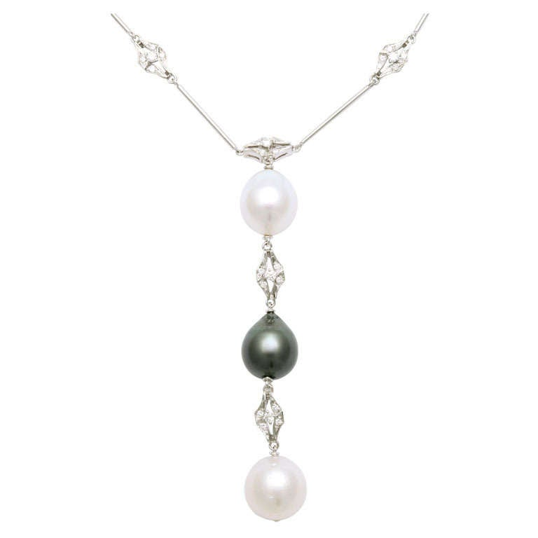 Black and White Pearl and Diamond Long Necklace For Sale