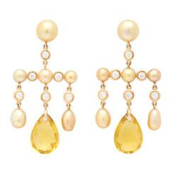 Golconda Golden Pearl, Golden Beryl and Diamond Girandole Earrings
