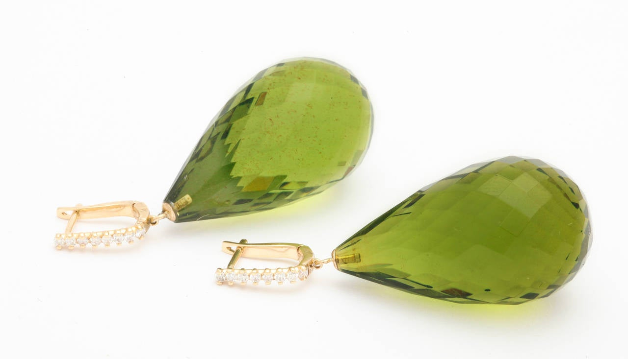 Green Amber Diamond Gold Drop Earrings 5