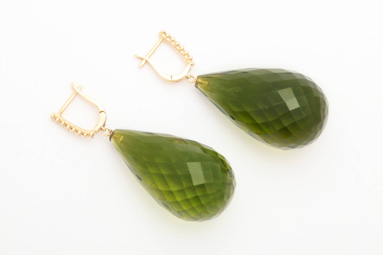 Green Amber Diamond Gold Drop Earrings 2