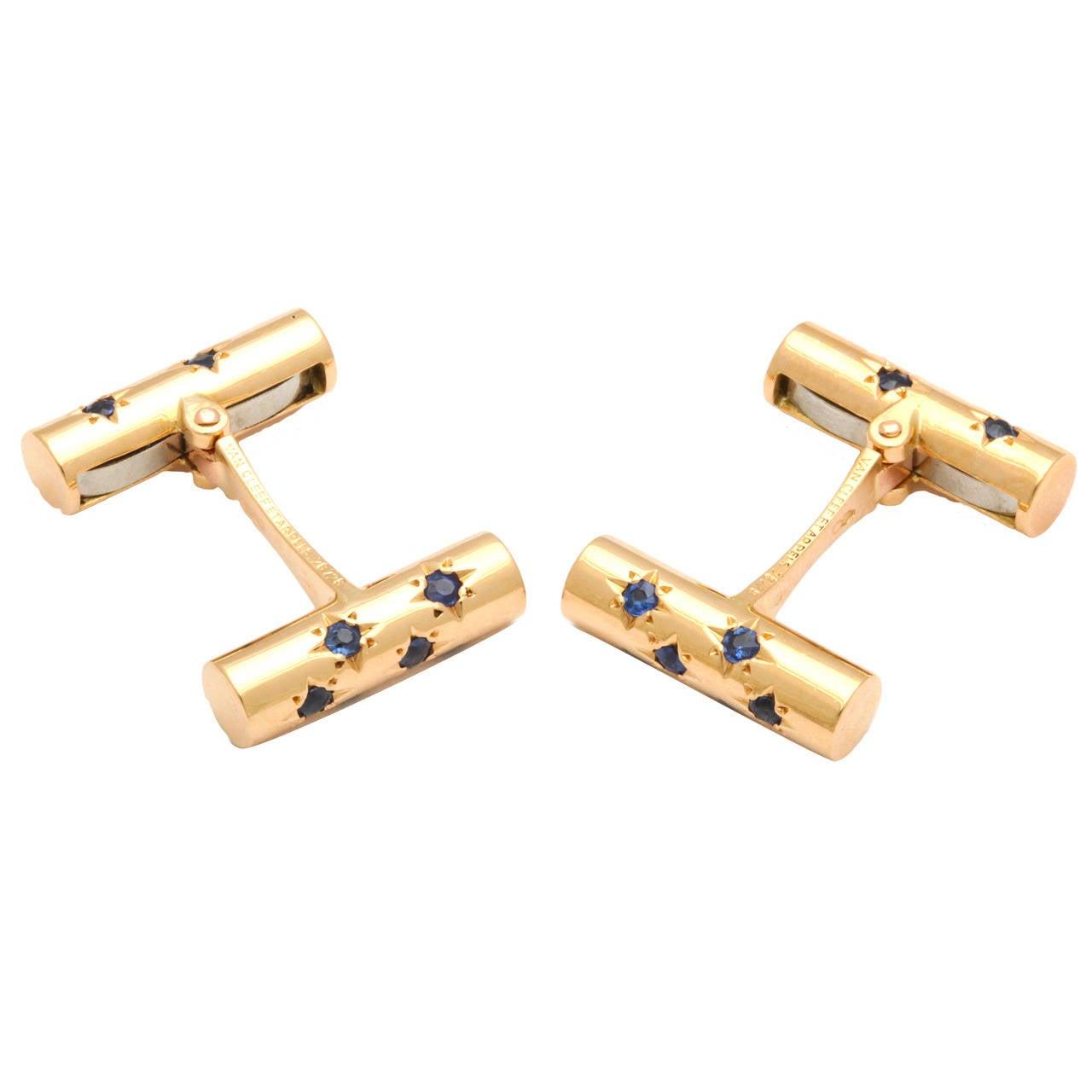 Van Cleef & Arpels Sapphire Gold Double Baton Cufflinks