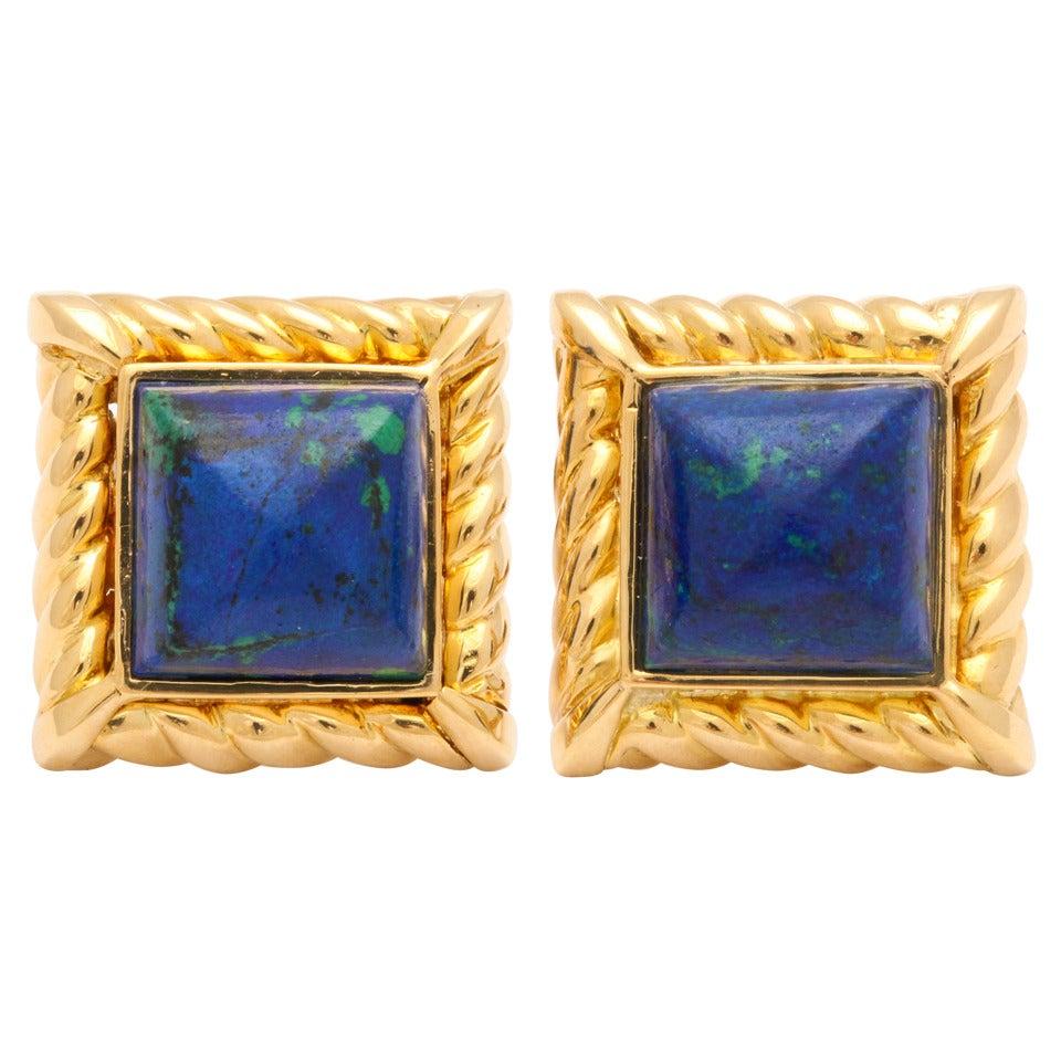 David Webb Azurite Fluted Gold Cufflinks
