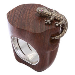 Golconda Carved Teak Ruby Diamond Salamander Ring