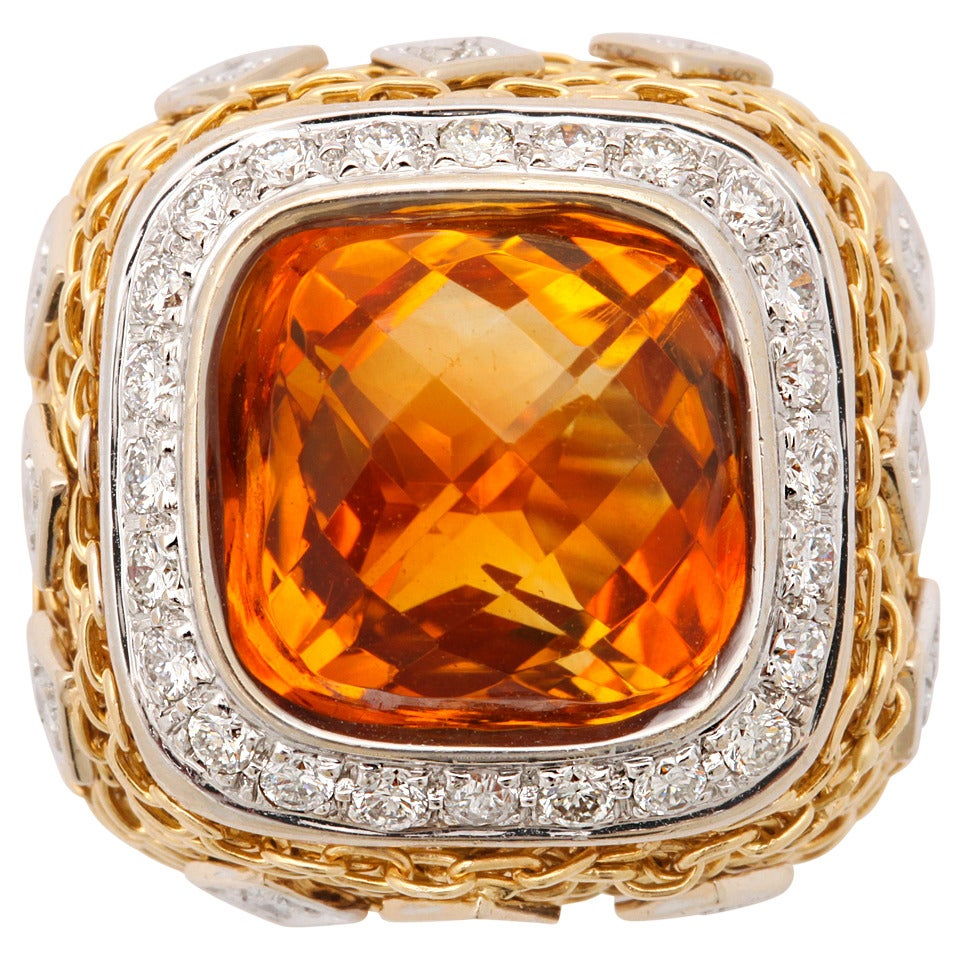 Citrine Diamond Gold Ring 1