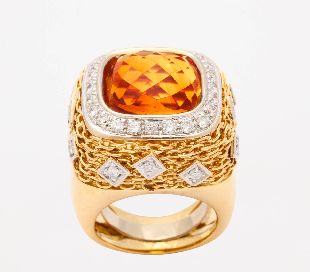 Citrine Diamond Gold Ring 2