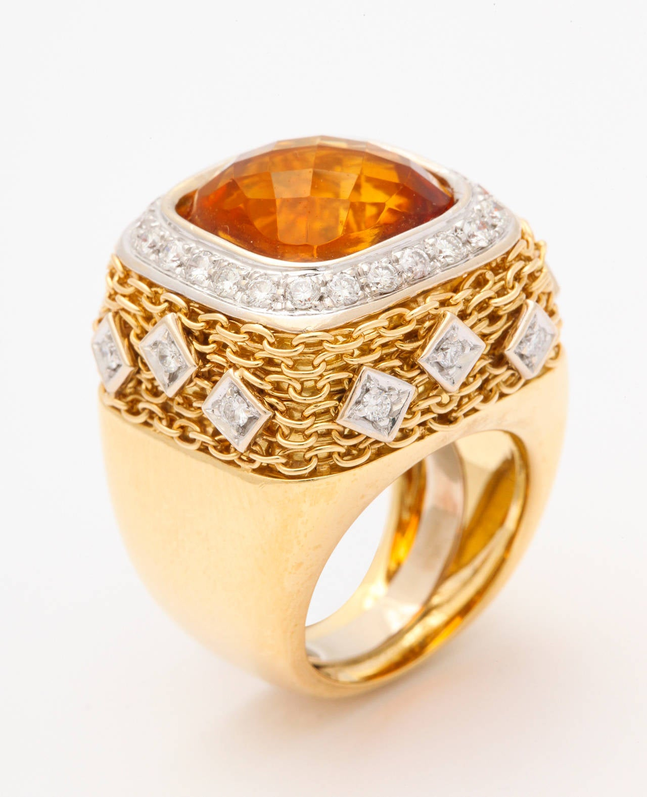 Citrine Diamond Gold Ring 4