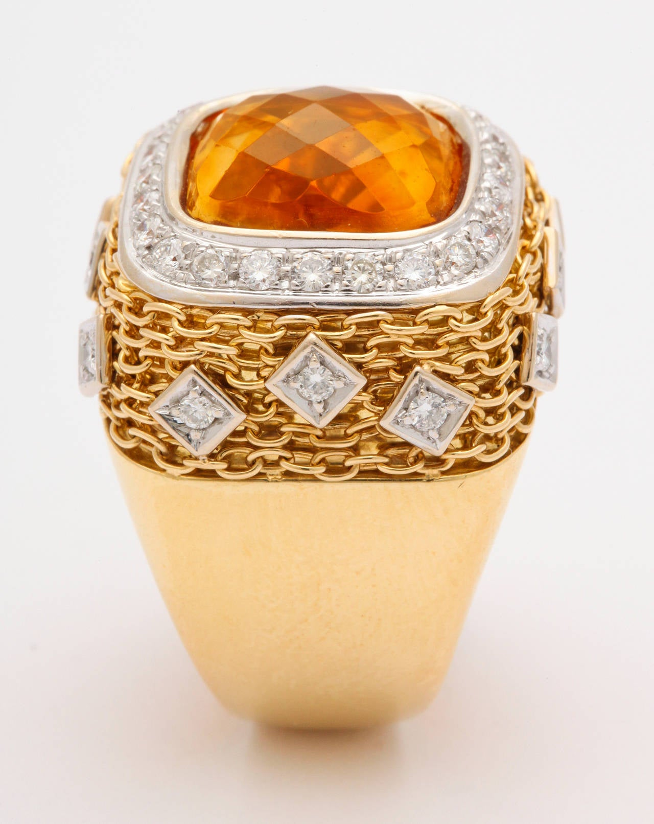 Citrine Diamond Gold Ring 3