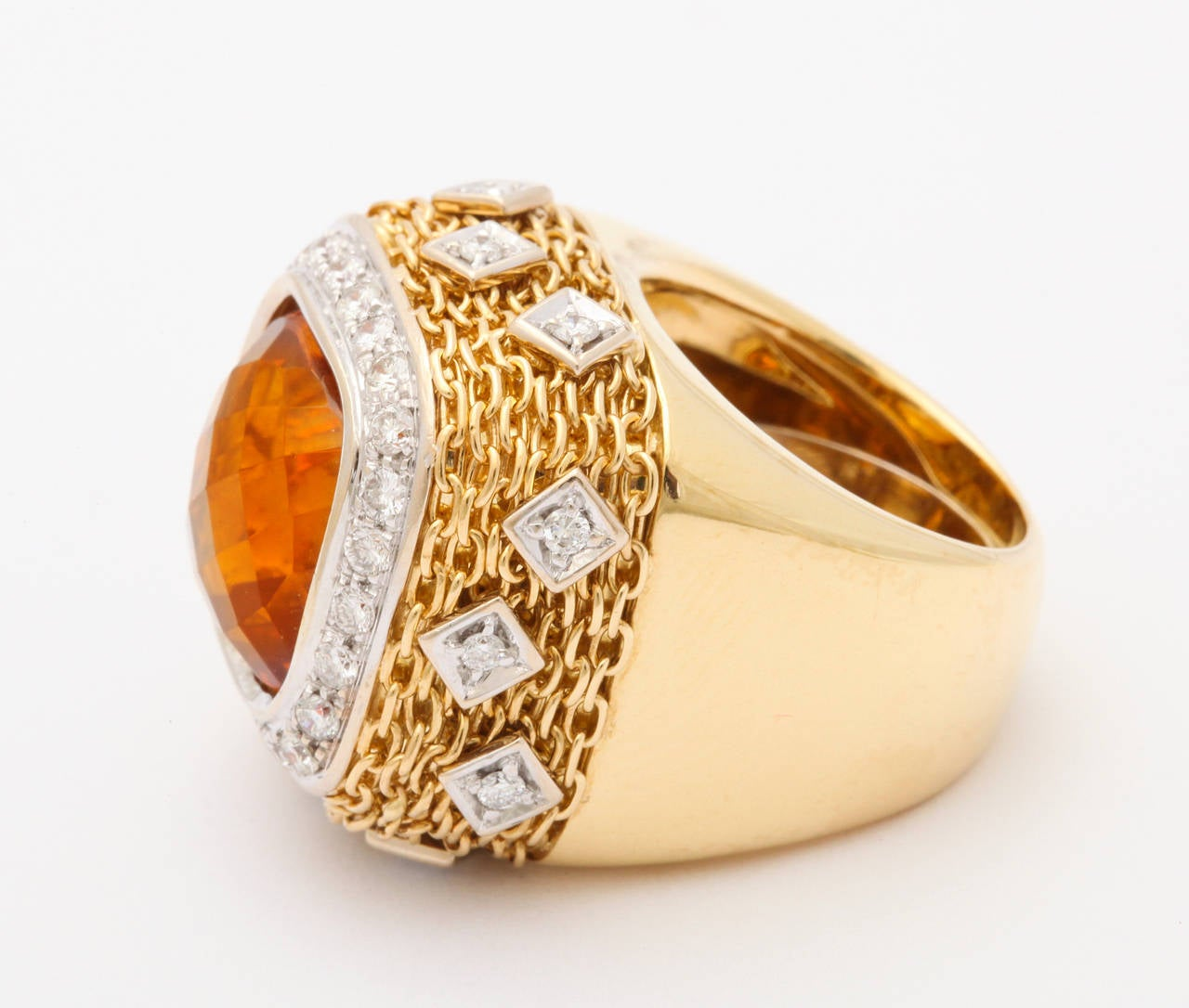 Citrine Diamond Gold Ring 5