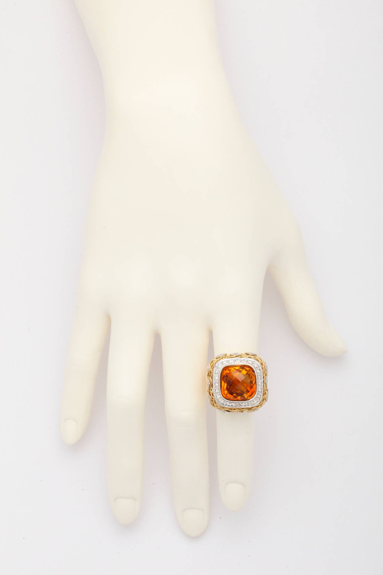 Citrine Diamond Gold Ring 7
