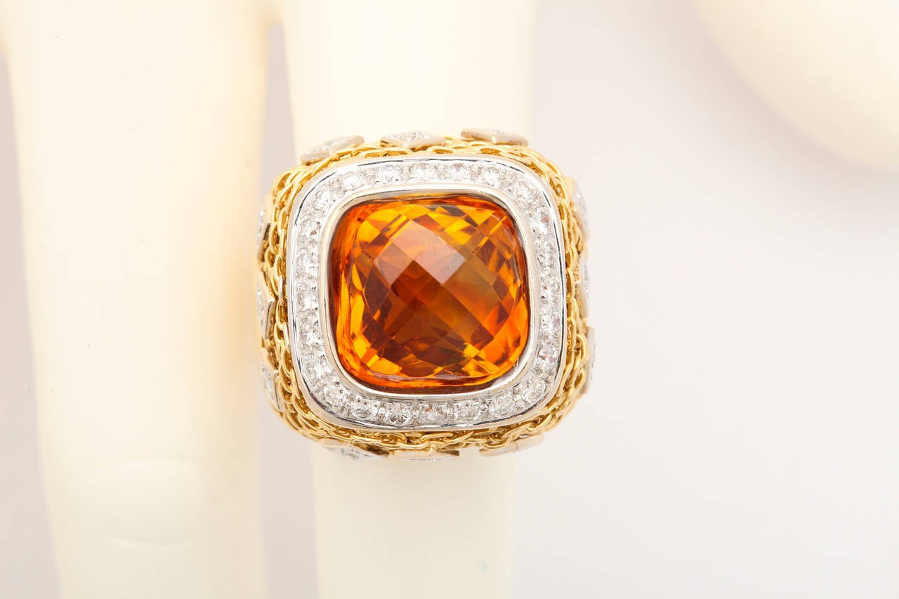Citrine Diamond Gold Ring 9