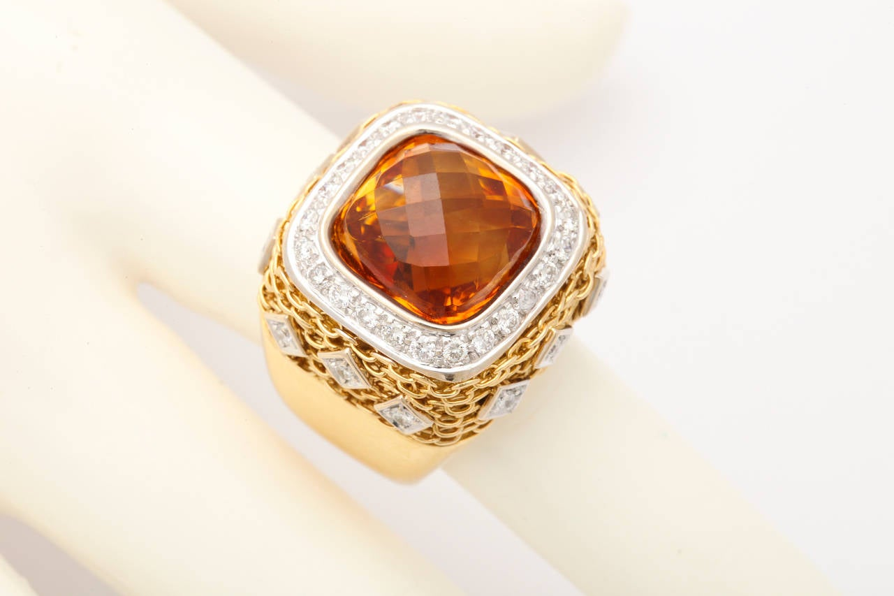 Citrine Diamond Gold Ring 8