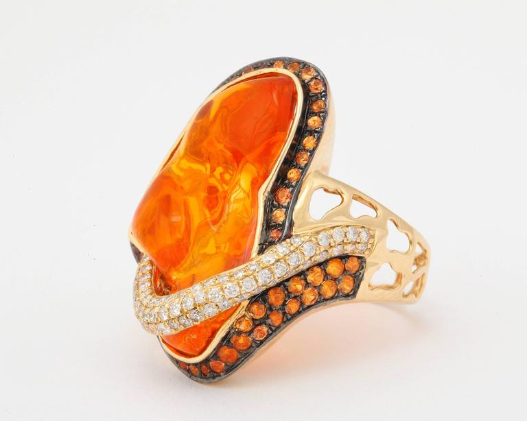 Mexican Opal Orange Sapphire Diamond Gold Ring 6